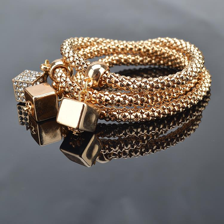 TS1340 3Pcs Lot High Quality Fashion Gold Plated Crystal Chain Bracelets Bangles Ethnic Round Charm Bracelet