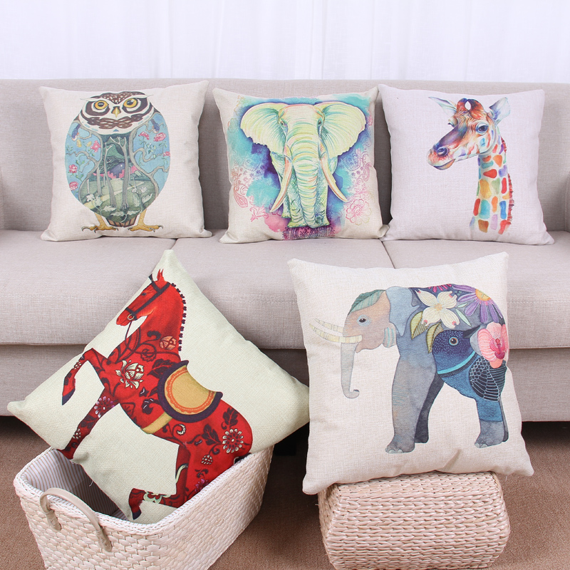 Nordic IKEA Style animal Printe Elephant Red Horse Giraffe Cotton Linen Throw Pillow Cover Cushion Case Sofa Bed Decorative(China (Mainland))