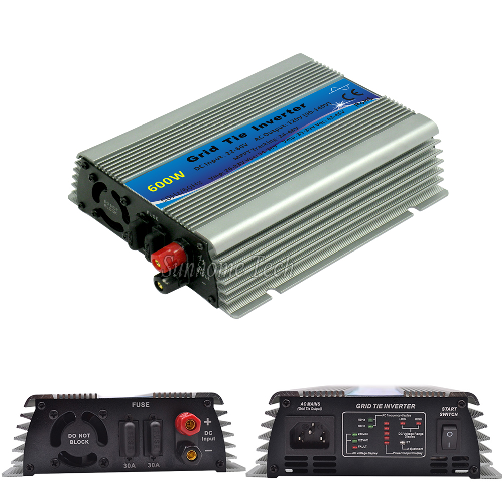 mppt 600W solar power grid tie micro inverters pure sine wave 22-60V DC to120V AC inverters 600W on grid tie inverters(China (Mainland))