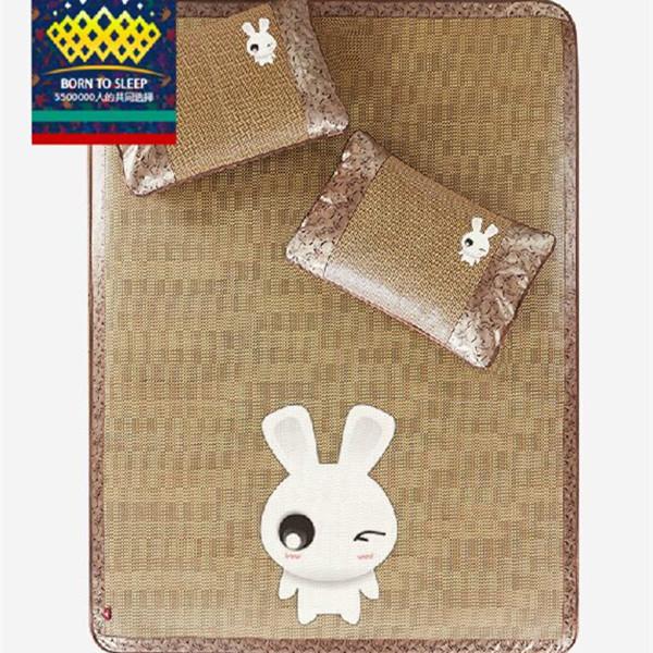 Cartoon Rabbit Summer Bedding For Children/Adults Folding Bed Mat Pillow Mat Rattan Mat Kit Home Textile Bed Cover(China (Mainland))