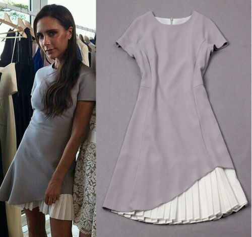 2015 fashion summer women's temperament short sleeves pleated color matching GRAY dress - Rogger's factory store