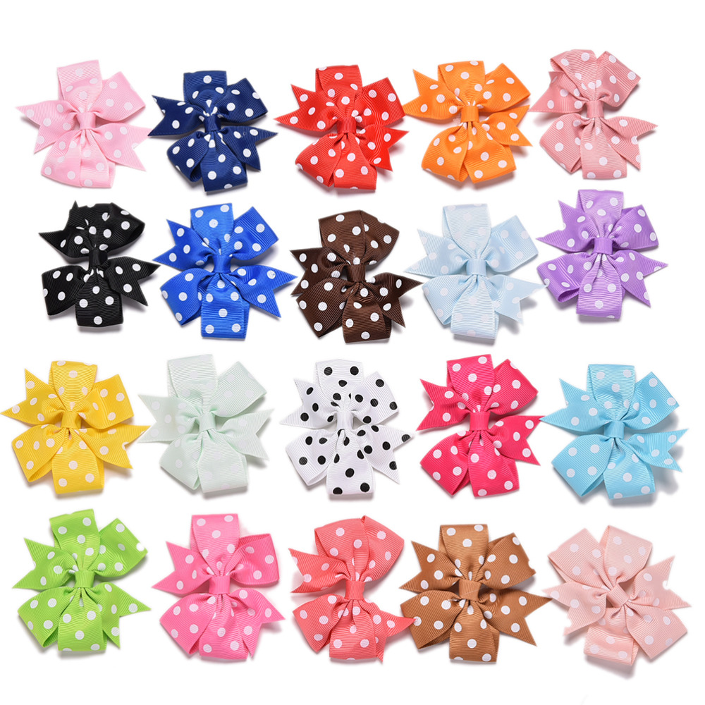 New 20pcs Polka Dots Hair Ribbon Bows Girls/Children Hairbows Boutique Hair Bow With Alligator Clips Hairpins(China (Mainland))