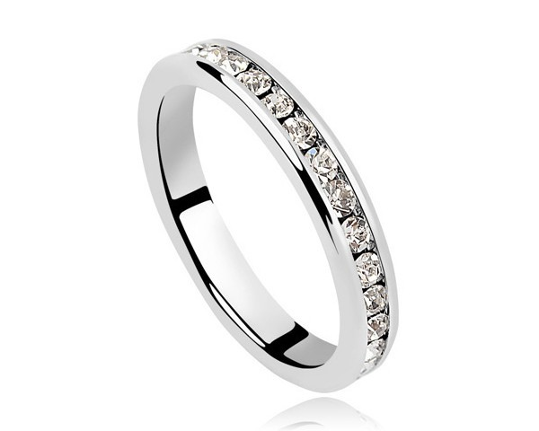 2 Color Black / White Crystal Band Ring Made With Swarovski Elements Men Women Gifts Accessories Popular Ring Classic Jewelry(China (Mainland))