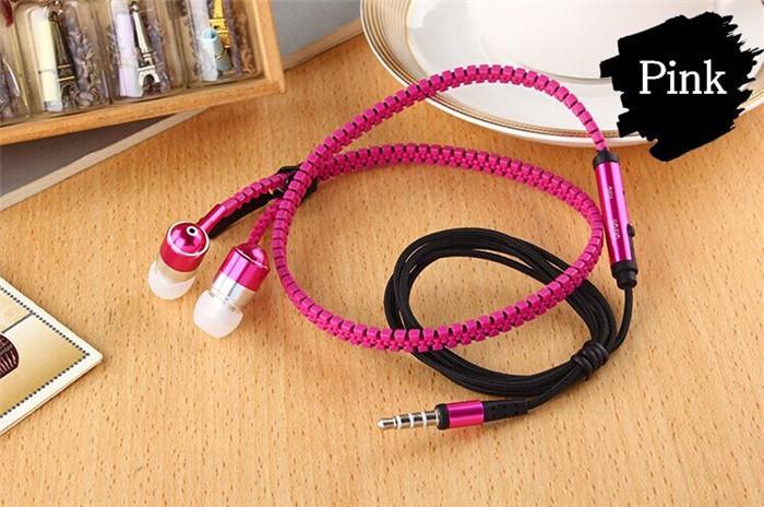 New Microphone Mic Earbuds Premium 3.5mm Tangle-Free Zipper Earphones Headset mp3 waterproof bluetooth headphones for girls