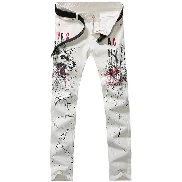 2016 новинка прямые джинсы ноги длинные мужчины мужской печатных джинсовые брюки ...