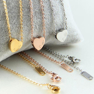 New arrival unique elegant tiny heart necklace 18k rose gold necklaces Wholesale Jewelry Supplier Stainless Steel N4650(China (Mainland))