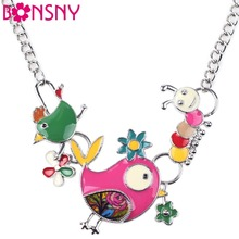 Buy Bonsny Statement Enamel Bird Caterpillar Necklace Charm Metal Alloy Chain Pendant 2016 New Jewelry Women Collar Accessories for $6.75 in AliExpress store