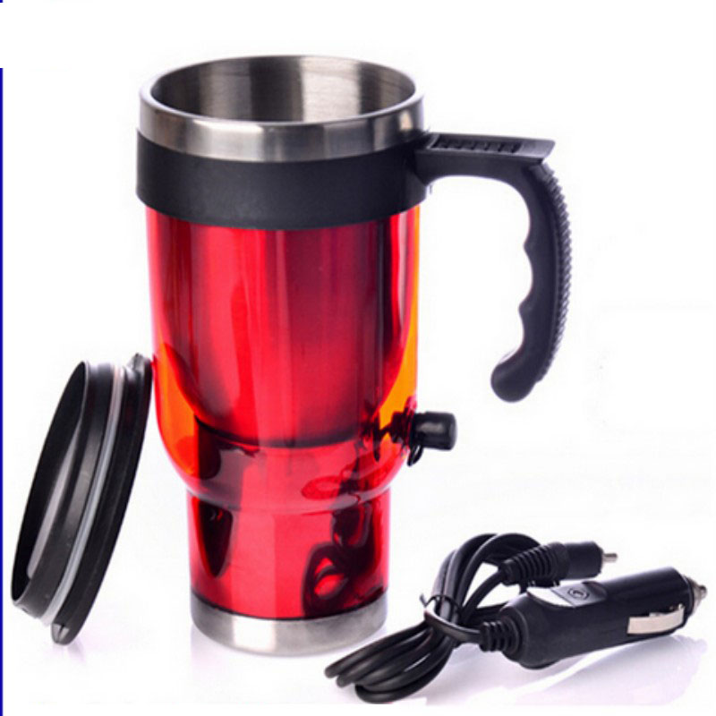 Car Heating Cup 12V 500ml Coffee Electric Mug With Cigarette Lighter Red and Blues Steel Travel Heated Cup Car Adapter(China (Mainland))