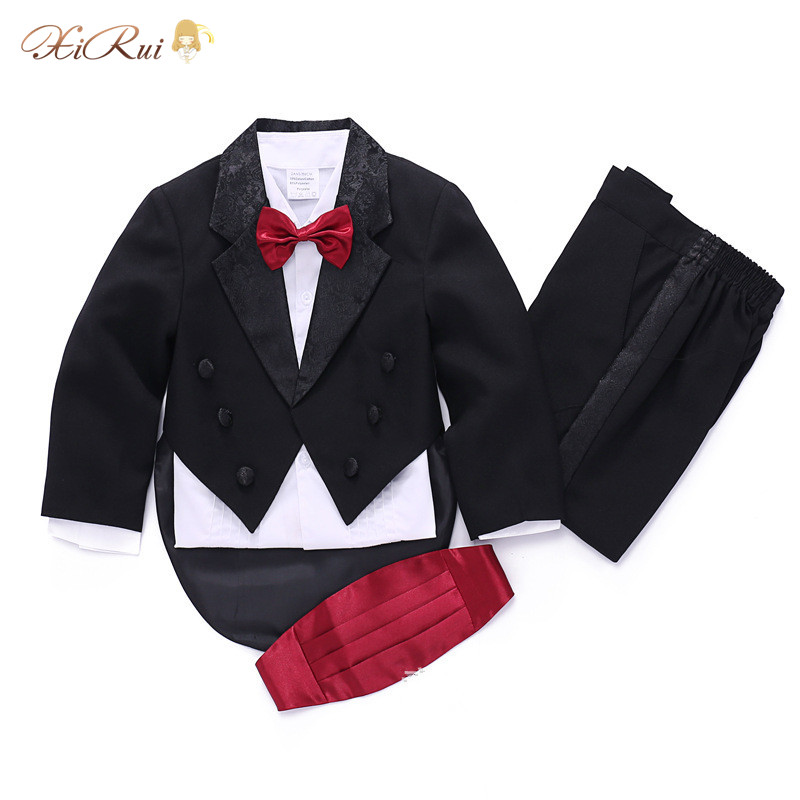 Formal newborn baby boy Tuxedo wedding suits party Formal suits for 1-4T toddler baby suits wear Boys Blazers suits 5-Piece(China (Mainland))