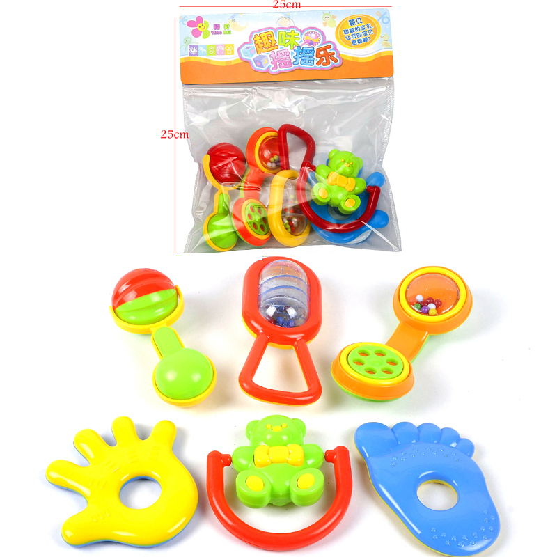 Hot Learning Toy For Baby 6pcs/lot Plastic Colorful Rattles Toys Educational Baby Toys Hand Shake Bell Ring Pack In PVC Bag<br><br>Aliexpress