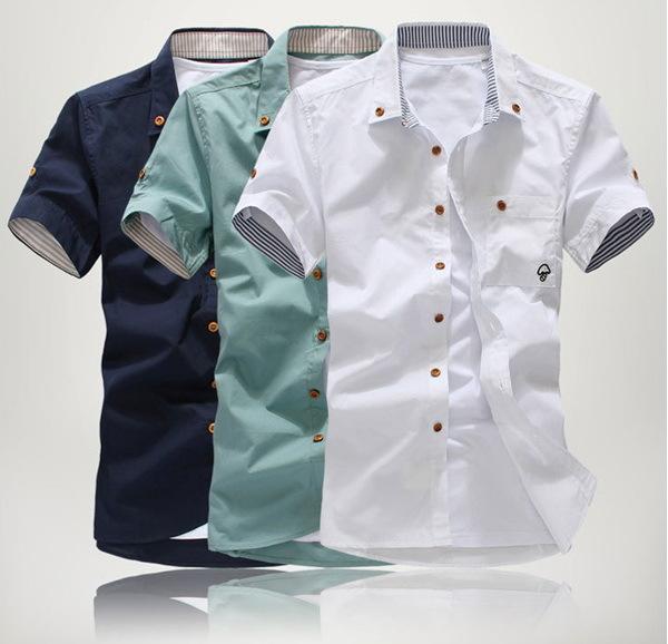 Fashion men 39 s casual shirts cotton short sleeve shirt turn for Fashionable button down shirts
