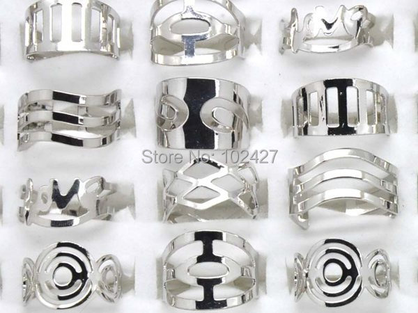 1 Jewelry Lots Silver Alloy Metal Vintage Rings Open Mix Style - mixlot (no min order store)