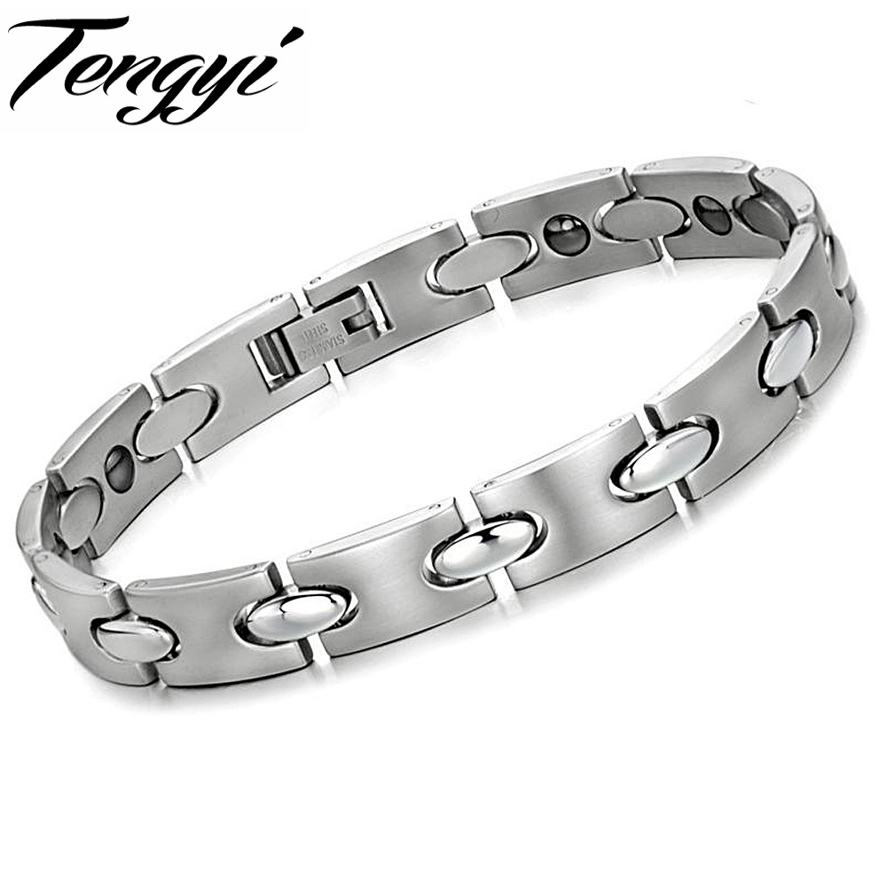 Trendy 316L Titanium Steel Germanium Health Magnetic Therapy Jewelry Male Jewelry Health Bracelet Best Price TY 8017(China (Mainland))