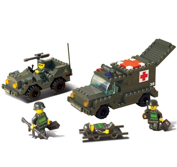 Child Building Block Set Compatible with military Army ambulance 229 pcs 3D Construction Brick Educational Hobbies Toys for Kids(China (Mainland))