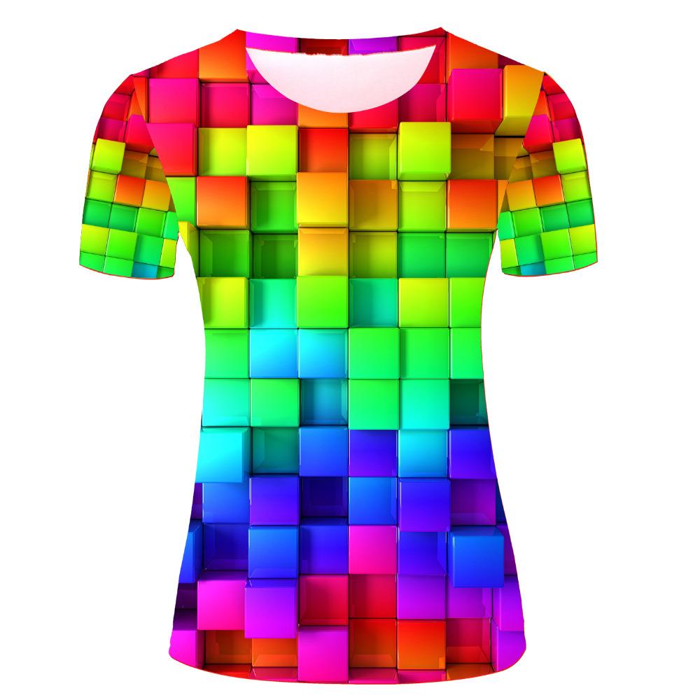 Woman Rainbow Logo Design T Shirts Tie Dye Summer Style T-shirts Harajuku Sexy Tees Top Short Sleeve 3d Shirts(China (Mainland))