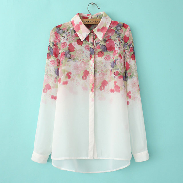 2015 New fashion spring summer women's clothing chiffon print floral long sleeve shirts casual white feminine blouses - Joan and Davie store