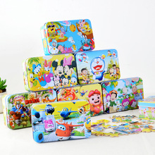100pcs/set Wooden Puzzle with Iron Box Cartoon 3D Wood Puzzle Jigsaw wood toys for Children Early Educational Montessori Toys(China (Mainland))