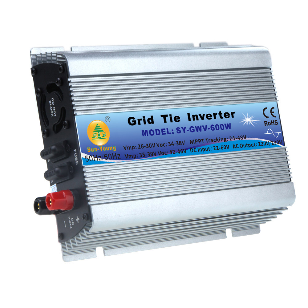 DC 22-60V AC 230V Micro Grid Tie Inverter Accept Solar Power Pure Sine Wave EU Converters 600W Watt(China (Mainland))
