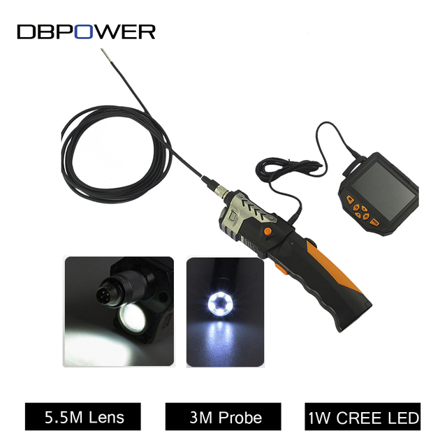 """Waterproof  Endoscope 3.5"""" LCD Inspection Camera 4 LEDs 5.5mm with 1M/3M Probe Borescope Industrial Vidoe USB Endoscope Zoom"""