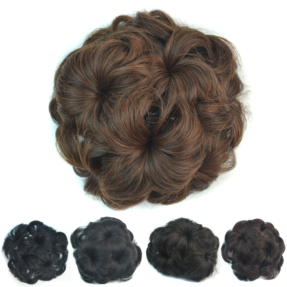 Women bag Chignon Flower Style Human Natural Hair Bun Chignon with Interposing Comb Clip Chignon Hair Pieces Extension Hairpiece(China (Mainland))