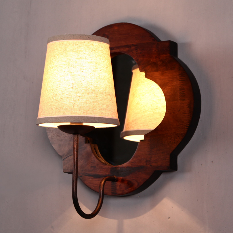 American style solid wood+fabric wall lamp vintage foyer cafe bar wall lighting energy saving decoration lights