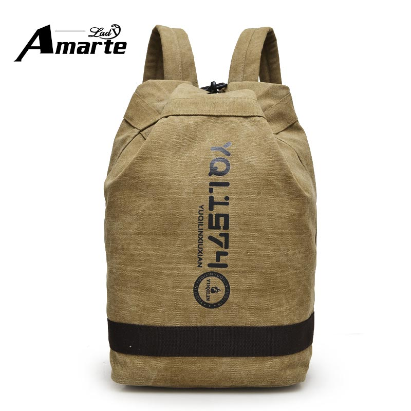 2017 New Men Male Canvas Backpacks Fashion Vintage Drawstring Backpacks School Bags For Men Boy Big Capacity Travel Backpacks(China (Mainland))