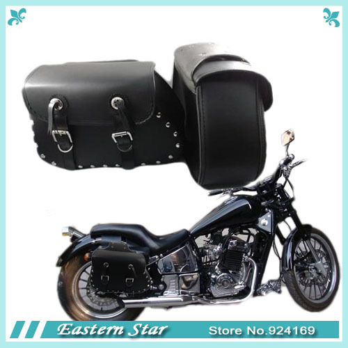 2 x universal Black faux Leather Motorcycle Saddlebags Saddle Bags Left & Right Pouch studded accents double buckles(China (Mainland))