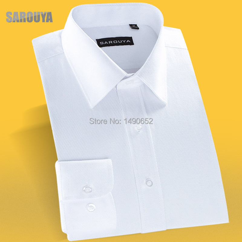 Men big and tall size white long-sleeve commercial easy care shirt ; Spring solid color long slv twill wash and wear dress shirt(China (Mainland))