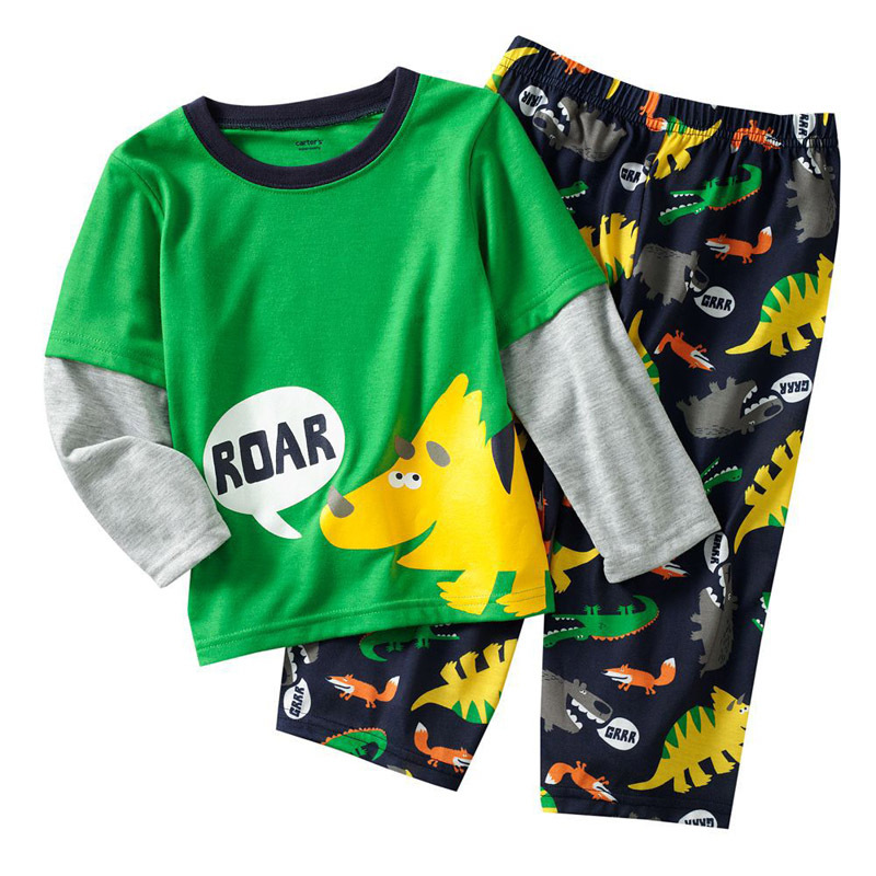 Lovely kids roar dog Boys Clothing Sets,retail spring autumn Children Clothing Sets high quality full sleeve t shirt+pants(China (Mainland))