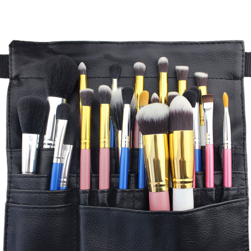 Woman Protable Cosmetic For Professional Makeup Brush Storage Bag PU Leather Messenger Make up Bags Holder Cosmetic Case(China (Mainland))
