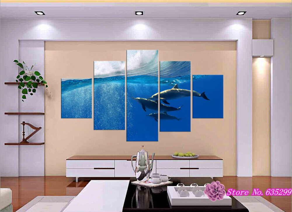5 pieces canvas wall art picture painting decoration home canvas Prints Take one's ease the dolphins swimming in the sea(China (Mainland))