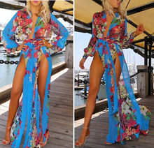 Sexy Womens Summer Painting Long Maxi Evening Party Beach Dresses Chiffon Cover up Dress(China (Mainland))