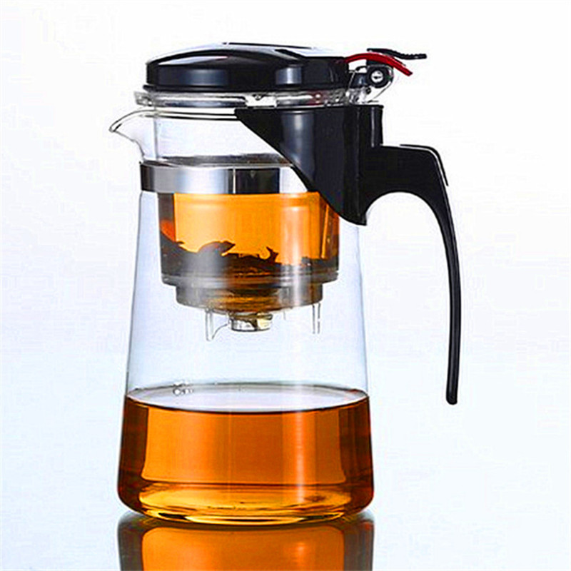 650ml Straight Glass Art Tea Cup Pot Mug Teapot Maker Press Washable Filter Home Office Convenient Drinkware(China (Mainland))
