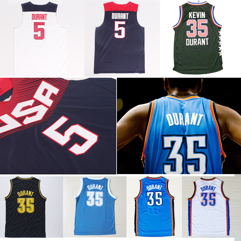 Oklahoma City 35# Cheap Kevin Durant White Blue Basketball Jersey 2015 All Star 35# KD Rev 30 Camisetas USA 5# Authentic Shirt(China (Mainland))