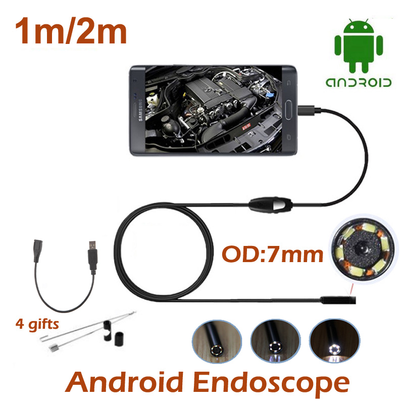 1M 2M Android Phone USB Endoscope Camera Waterproof Snake Tube inspection Pipe Endoscope Camera Android Phone HD720P 6PCS LED(China (Mainland))