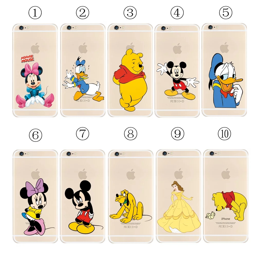 Lovely Cartoon princess Mickey Minnie Mouse Cute Pattern Soft Transparent Clear Case Cover Apple iphone 5S 6 6S Plus + DHL - KUAYANG STORE store