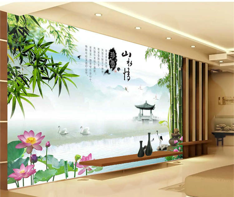 mop water Landscape mood picture is the new 3 d seamless electric room sitting room wallpaper background picture torneira ouro c(China (Mainland))