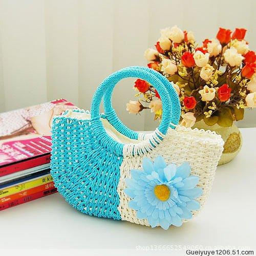 Cheap fashion handbags flowers kawaii bag cute pocket carry small hand bag, color sunflowers beach bag straw bag handbag(China (Mainland))