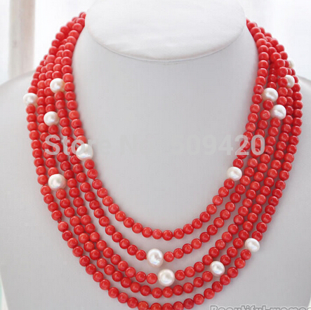 W&amp;O655 6mm round red coral 10mm round white freshwater pearl necklace 100inch (C0309)<br>