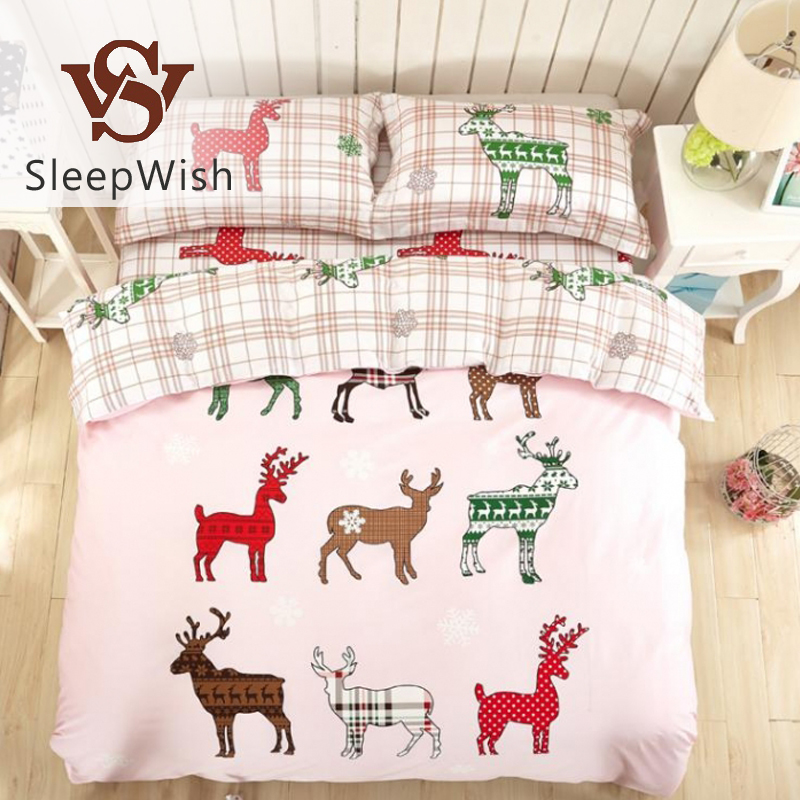 SleepWish Christmas Bedding Set Nordic Elk Light Pink Bedclothes 100% Cotton Soft Bed Linen 4Pcs Queen Printed Home Textiles(China (Mainland))