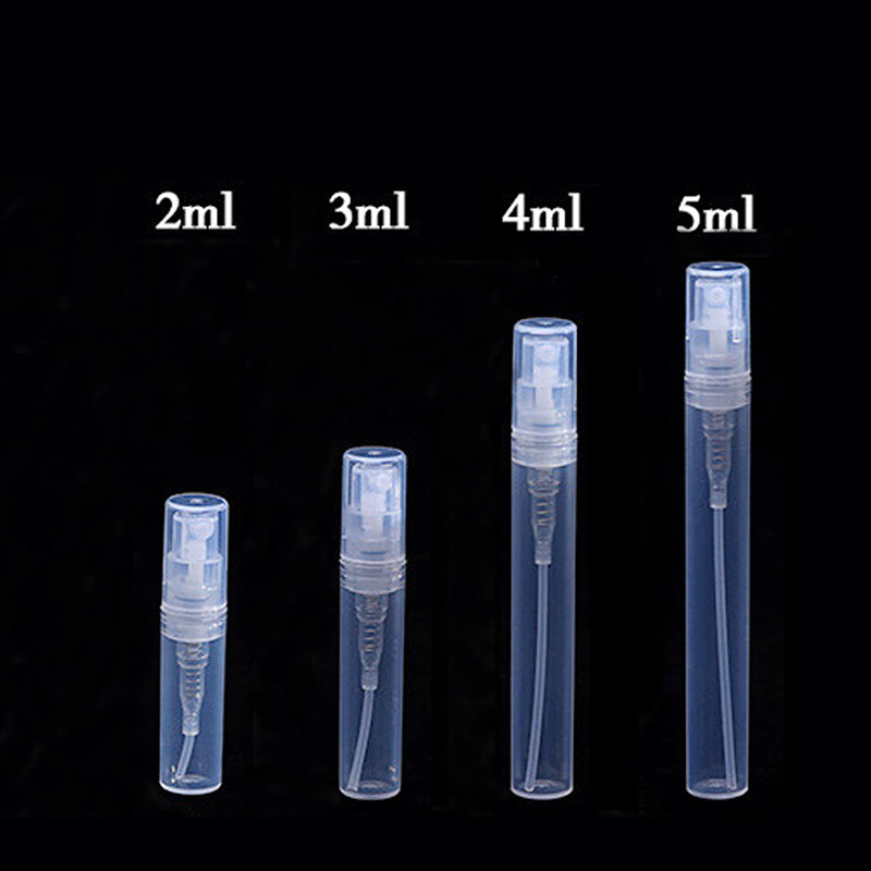 Wholesale 100pcs/lot 2ml 3ml 4ml 5ml plastic Refillable bottle dull polish translucence Sample spray perfume bottle(China (Mainland))