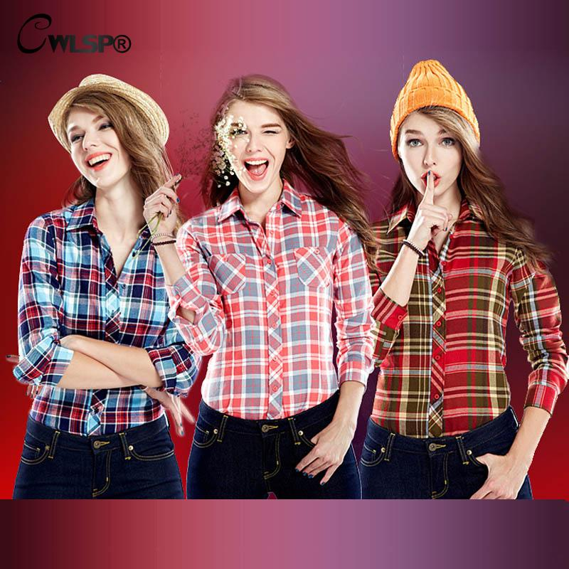 Casual Cotton Plaid Flannel Shirt Female Blouses Womens Shirts Long sleeve Turn Down Collar font b