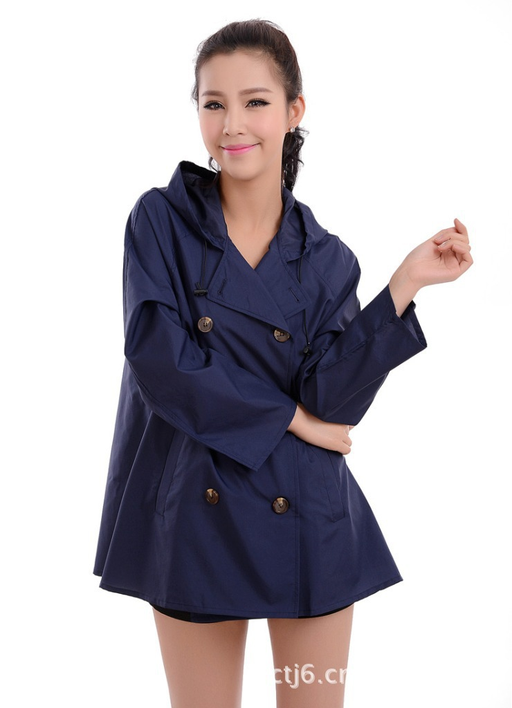 Chubasquero Mujer Mujer Impermeable Motorcycle Raincoat Japan South Korea Taiwan Genuine Adult Fashion Women Button Rainwear(China (Mainland))