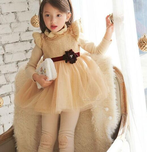 Hot sale New Autumn Winter Children Thick Flower Princess Dress Kids Fleece Patchwork Tulle Dress Costume Pink Apricot<br><br>Aliexpress