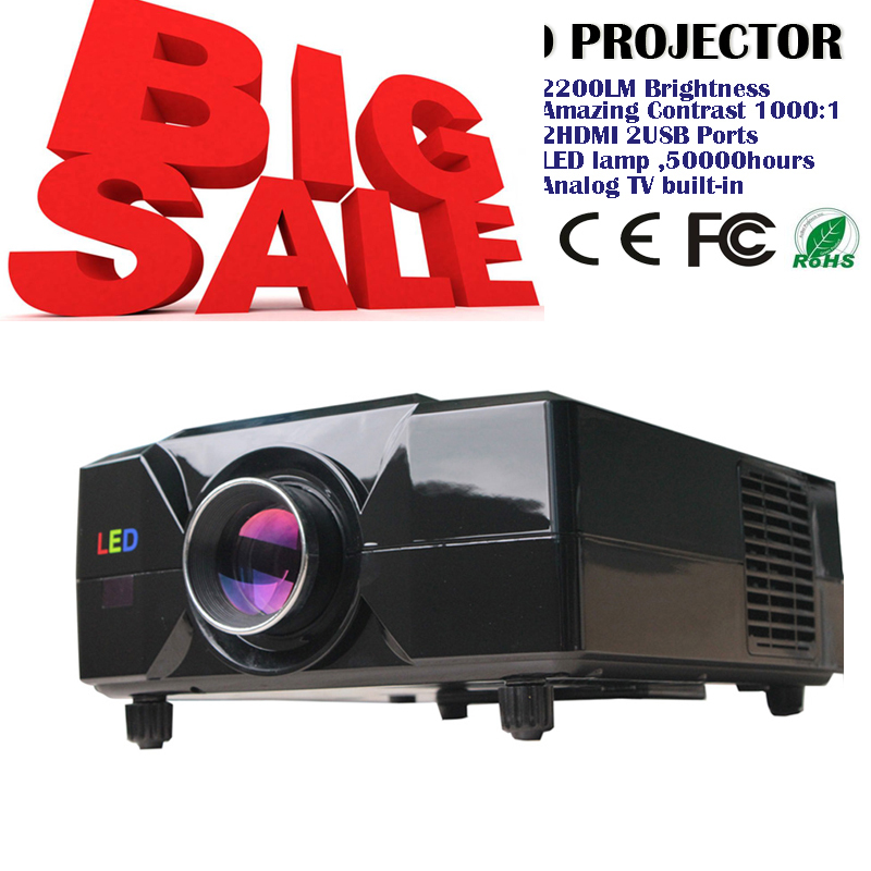 Sales!!! led projector built in digital tv for pc/laptop/iphone 2200lumens 4:3(China (Mainland))