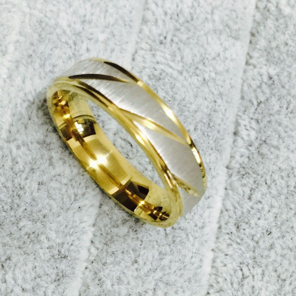 2015 New Fashion 6mm Men and Women Wedding Rings 18K Gold silver Stainless Steel couple engagement Rings for Men and Women(China (Mainland))