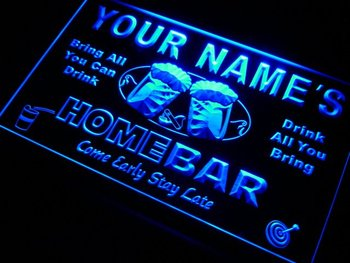 p-tm Name Personalized Custom Home Bar Beer Neon Light Sign