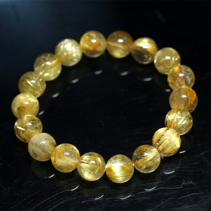 Здесь можно купить  AAA Natural Yellow Titanium Gold Hair Needle Rutile Quartz Rutilated Finished Stretch Bracelet Round Jewelry beads 11mm 04279  Ювелирные изделия и часы