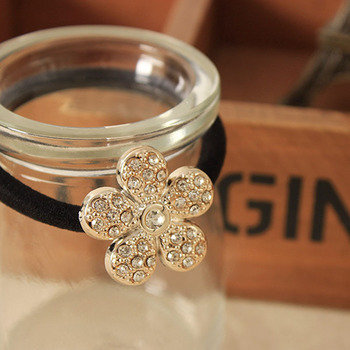Pearls Flowers Rubber Band for Hair