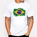 New Tops Summer Brazil Flag Fans Men T shirts Cotton Nostalgia Brazil Flag Style Rio Games